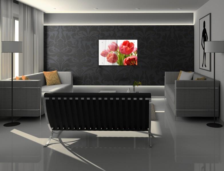 הדפסת תמונות על זכוכית באשדוד, פרח אדום בתמונת זכוכית בסלון הבית - חיוכים