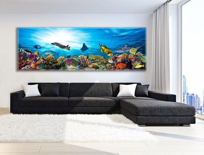 תמונת נוי פנורמית לסלון הבית, תמונה של אוקיינוס עם דגים - חיוכים